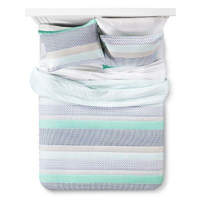 Green & Blue Microstripe Printed Comforter Set (Full/Queen)- Xhilaration™