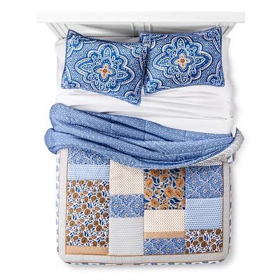 Navy & Tan Patchwork Comforter Set (Full/Queen)- Xhilaration™