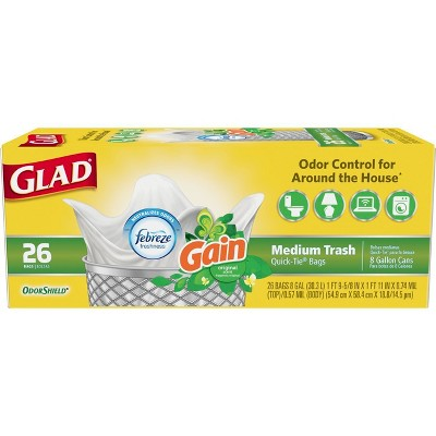 Glad OdorShield Medium Quick-Tie Trash Bags - Gain Original Scent - 8 Gallon - 26ct