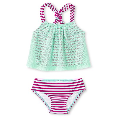 Baby Girls' 2-Piece Stripe Tankini Set Aqua Float 9M - Circo™