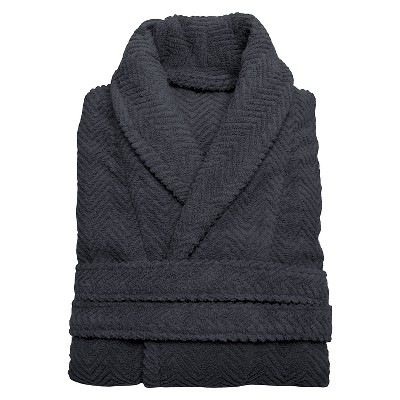 Herringbone Weave Bathrobe - Gray (Large/XLarge)- Unisex - Linum Home