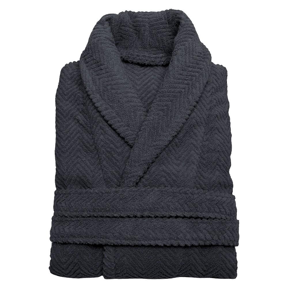 Herringbone Weave Bathrobe - Gray (Large/XLarge) - Unisex - Linum Home, Size: L/XL