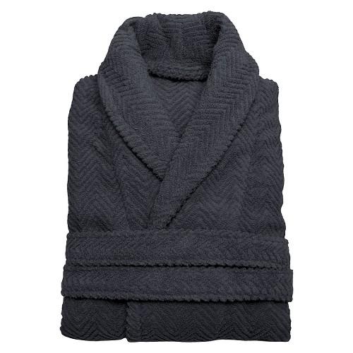 Herringbone Weave Bathrobe - Grey (Large/XLarge) - Unisex - Linum Home, Size: L/XL