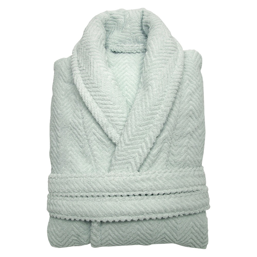 Herringbone Weave Bathrobe - Aqua Blue (Large/Xlarge) - Unisex Linum Home, Size: L/XL