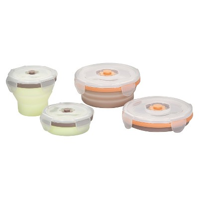 Babymoov 4-Piece Silicone Portable Food Storage Set Green/Orange