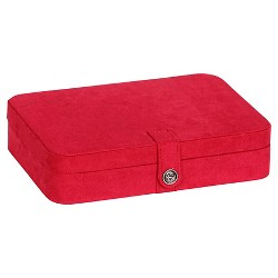 Mele & Co. Maria Women's Plush Fabric Jewelry Box with Twenty-Four Sections - Red