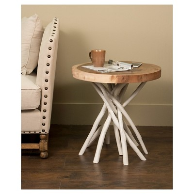 Liberte Round Side Table With Stick Base   White   Jeffan