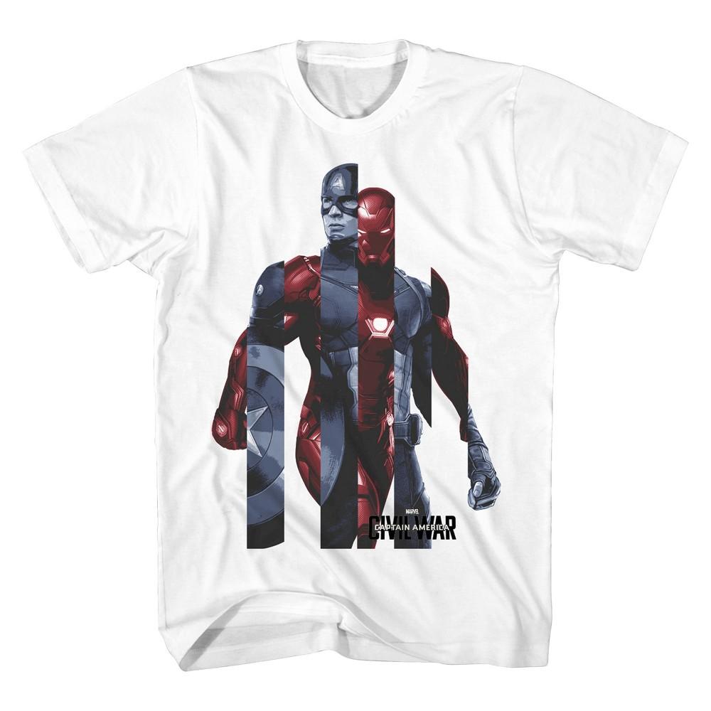 Marvel Mens Civil War Striped T-Shirt White M