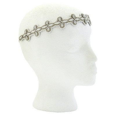 Pink Pewter Luann Bridal and Special Occasion Headband - White
