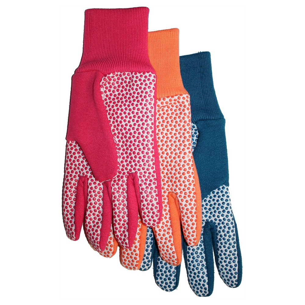Ladies Jersey Canvas Plastic Dot Palm Glove 5-Pack - Large, Red