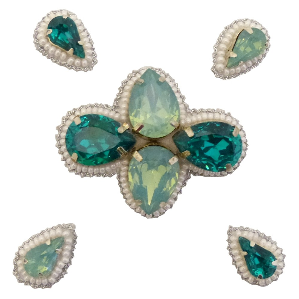 Pink Pewter Emerald (Green) Beaded Jeweled Hair Clips, Women's