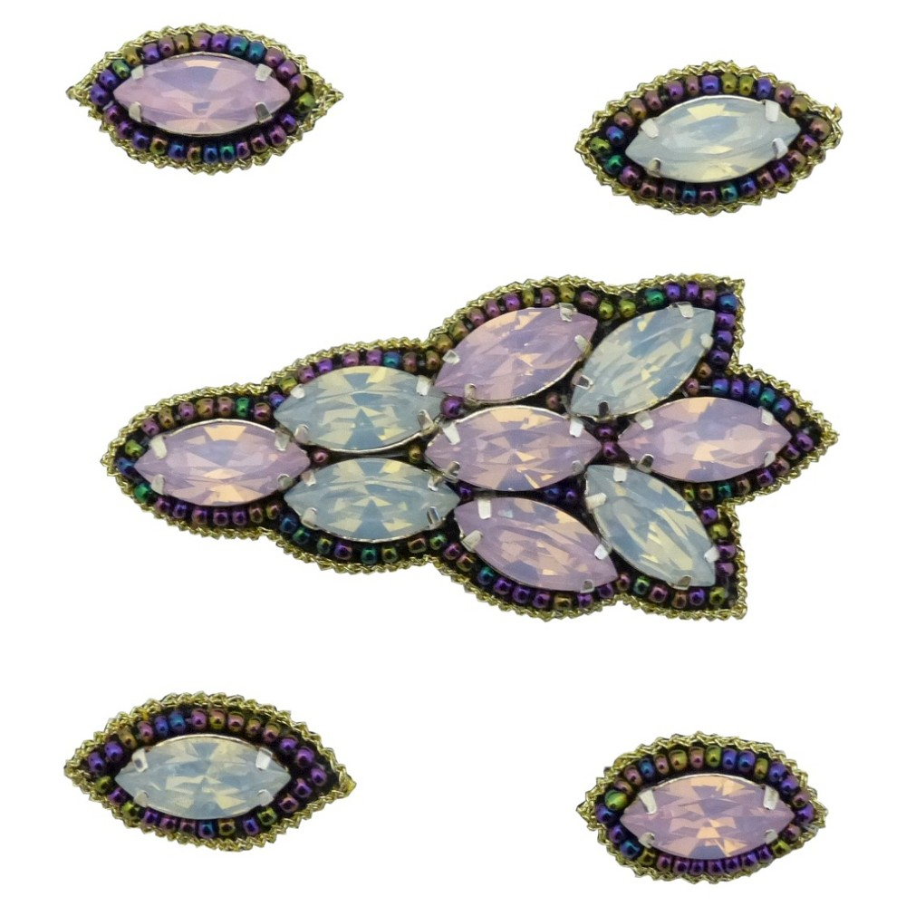 Pink Pewter Pink Iridescent Beaded Jeweled Hair Clips, Womens