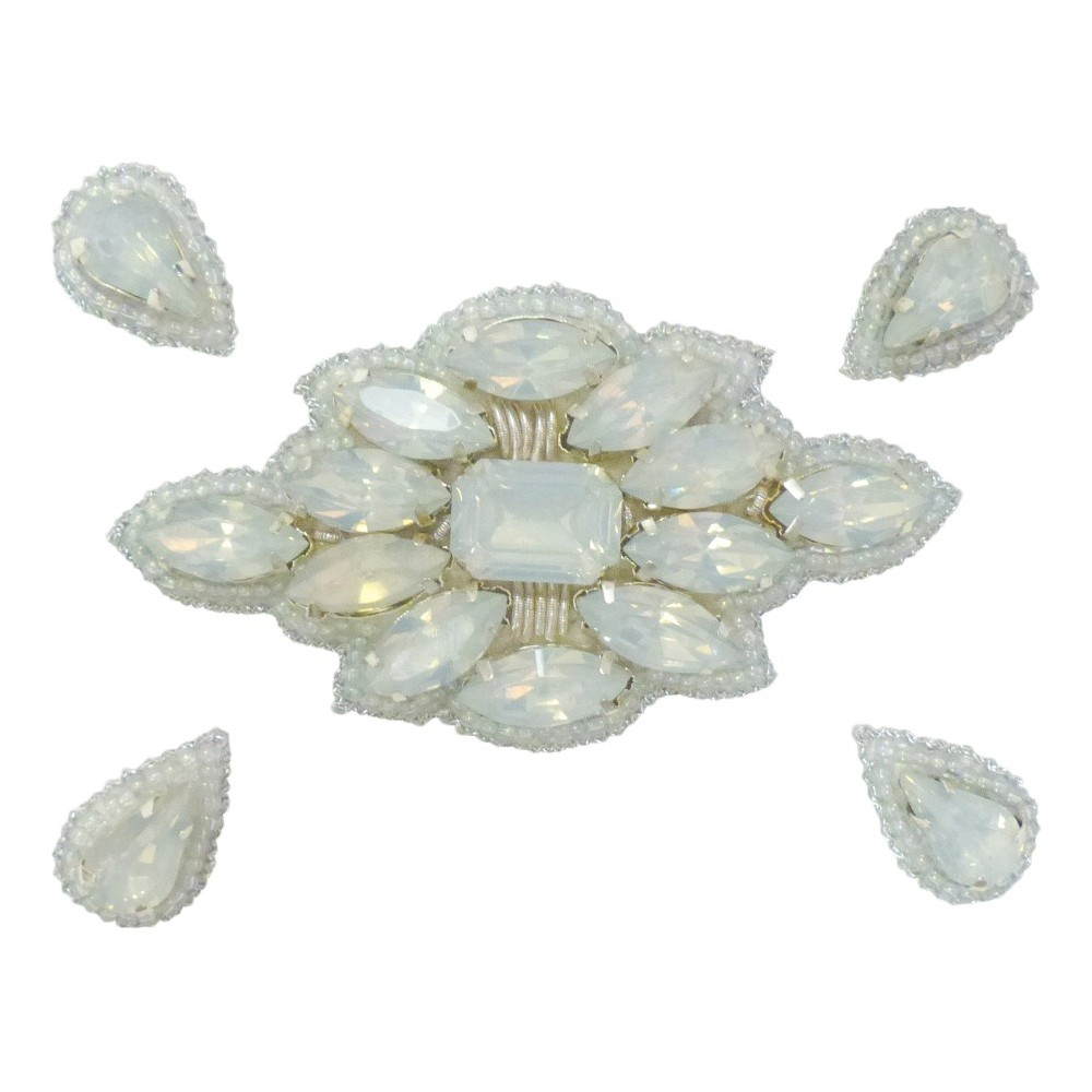 Pink Pewter Iridescent Beaded Jeweled Hair Clips, Women's, Abalone White Opaque