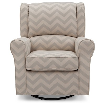 Delta Children® Morgan Chevron Nursery Glider Swivel Rocker Chair – Gray