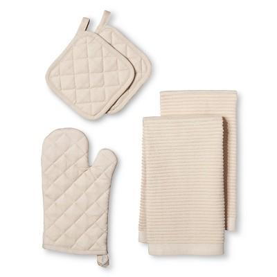 TanSolidOven Mitt(2 Pot Holders 2 Kitchen Towels)- Room Essentials™