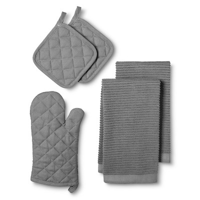 Gray Solid Oven Mitt (2 Pot Holders 2 Kitchen Towels) - Room Essentials™