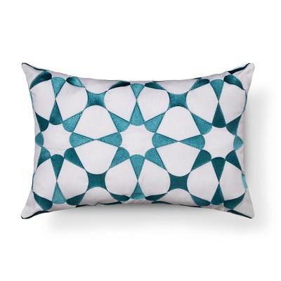 Aqua/White Tulum Throw Pillow (18 x12 )- Sabrina Soto™