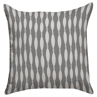 Gray String and Bead Throw Pillow (14 x14 )Thumbprintz
