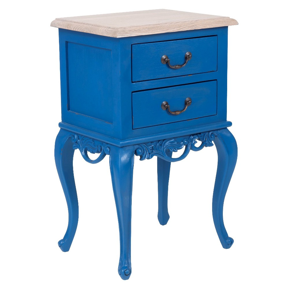 Fiji Side Table With Drawers Blue Jeffan