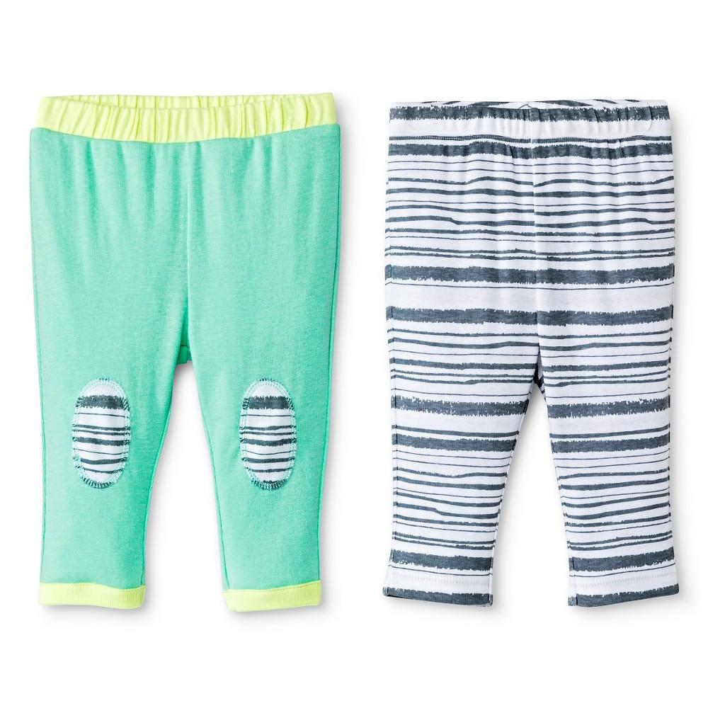 Oh Joy! Newborn 2 Pack Pant Set – Grey Stripes 0-3M, Newborn Unisex, Size: 0-3 M, Green
