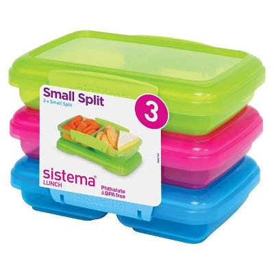 Sistema 3 Pack Split 11.8oz Color Containers