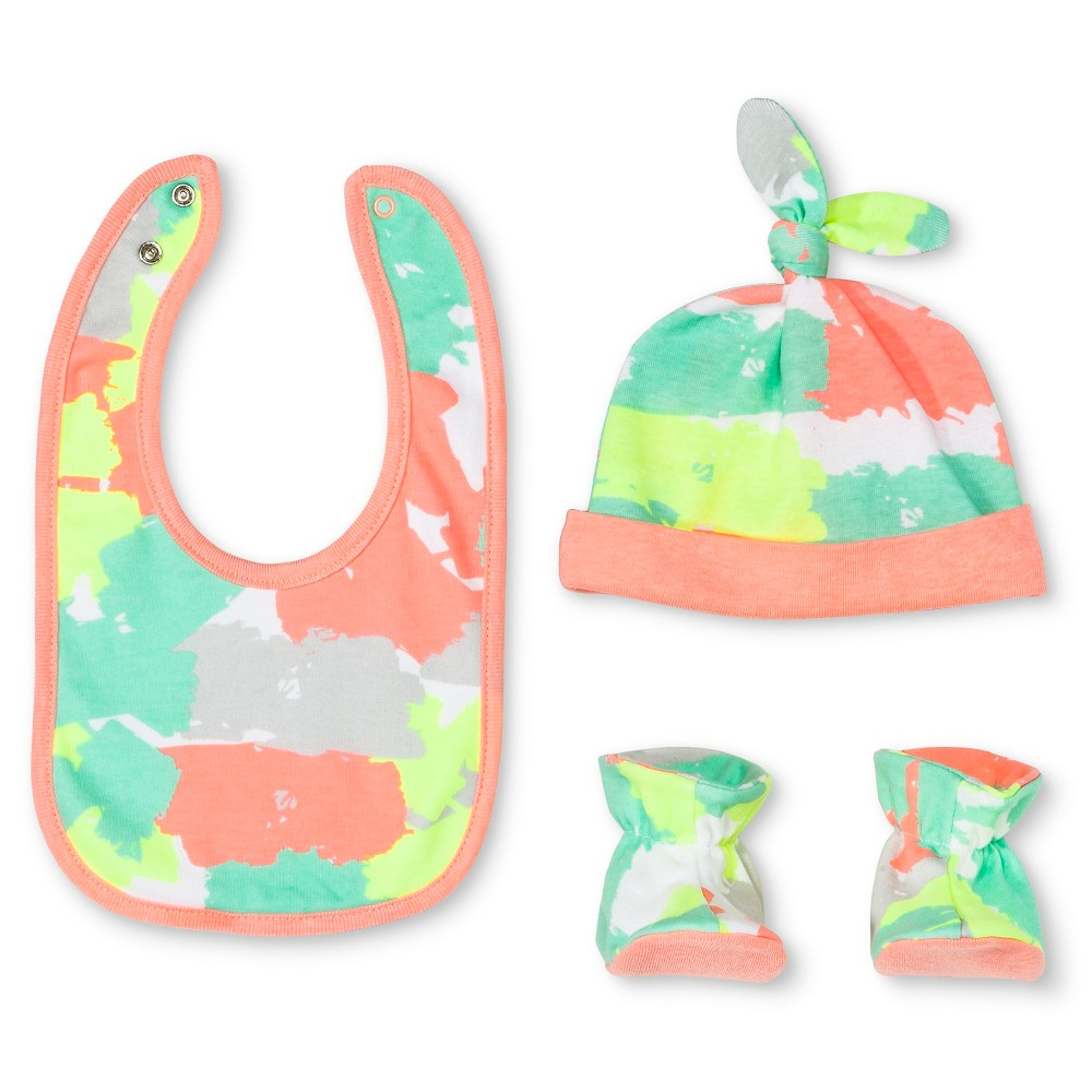 Oh Joy! Newborn Bib, Hat & Slipper Set – Painted Camo Osfm, Pink