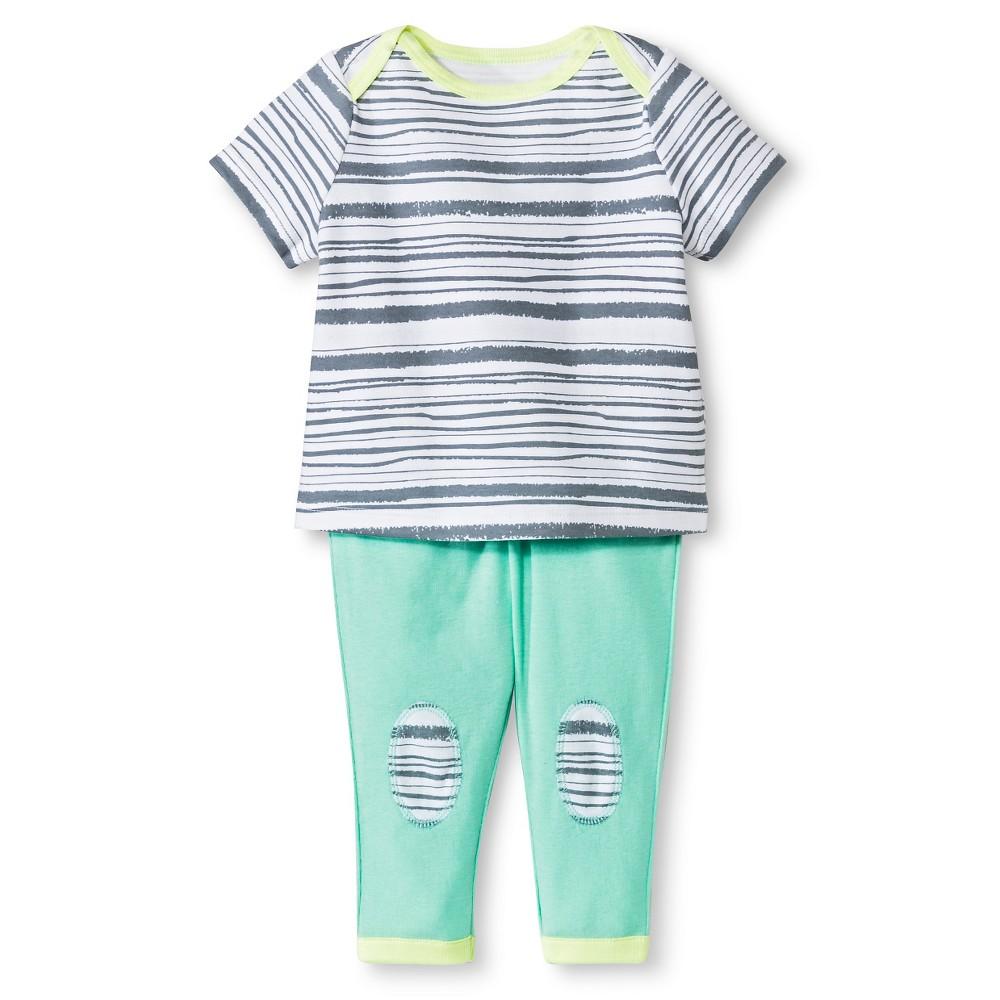 Oh Joy! Newborn 2 Piece Tee and Pant Set – Stripes 3-6M, Newborn Unisex, Size: 3-6 M, Gray