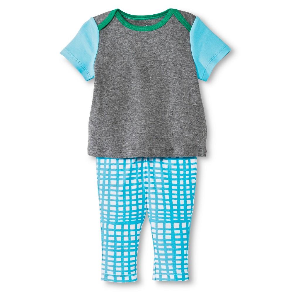 Oh Joy! Newborn 2 Piece Tee and Pant Set – Blue Grid 12M, Newborn Unisex, Size: 12 M