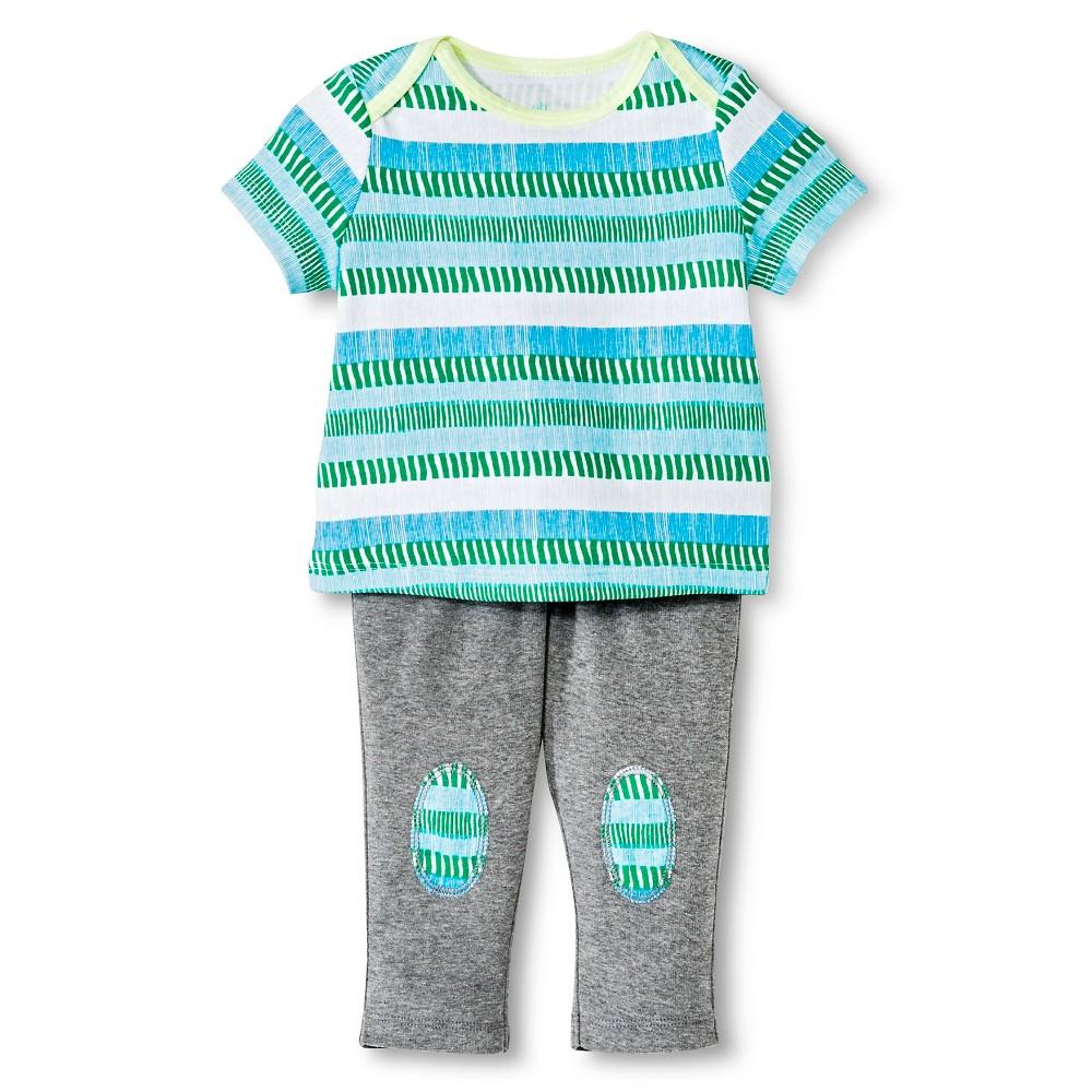 Oh Joy! Newborn 2 Piece Tee and Pant Set – Blue/Green Stripes 24M, Newborn Boy's, Size: 24 M