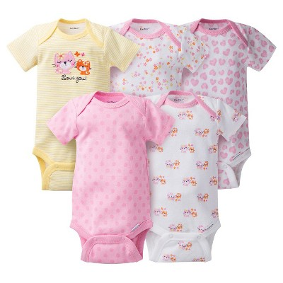 Gerber® Baby Girls' 5pk Kitty Onesies® - Pink