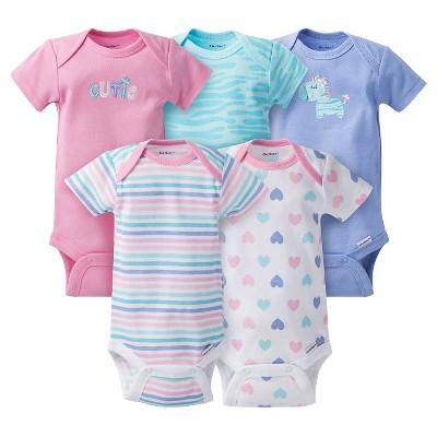 Gerber® Baby Girls' 5pk Zebra Onesies® - Purple NB