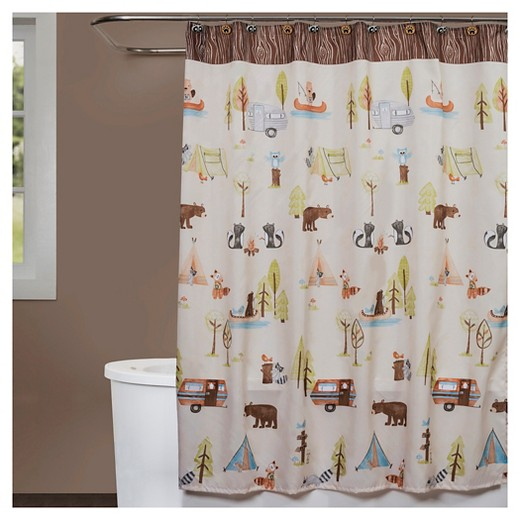 brown and white shower curtain. Camping Critters Fabric Shower Curtain Brown White  Saturday Knight Ltd