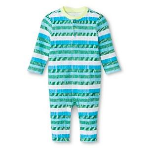Oh Joy! Newborn Long Sleeve Romper - Blue/Green Stripes 12M, Newborn Boy