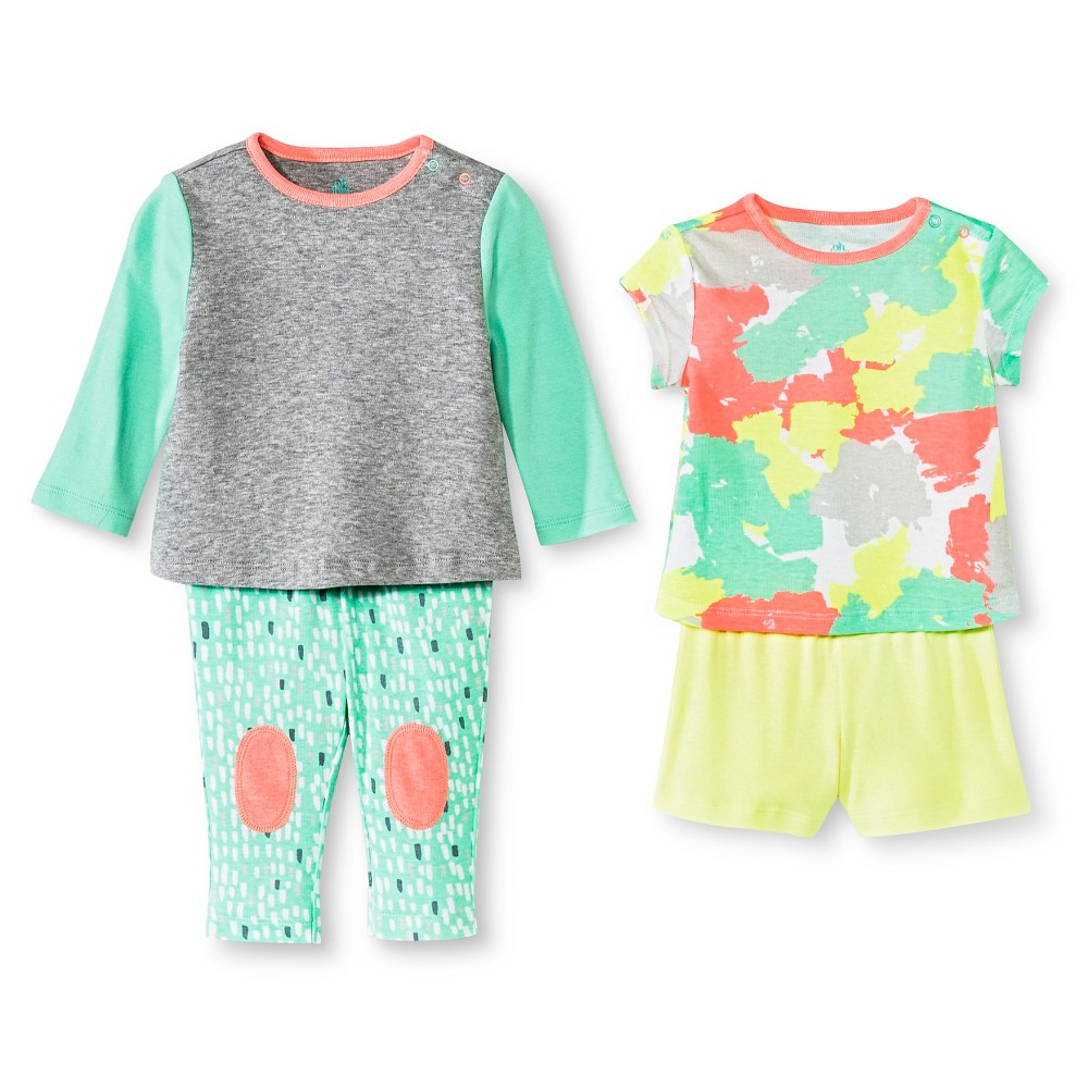 Oh Joy! 4 Piece Set – Painted Camo, Infant Girl's, Size: 12 M, Green