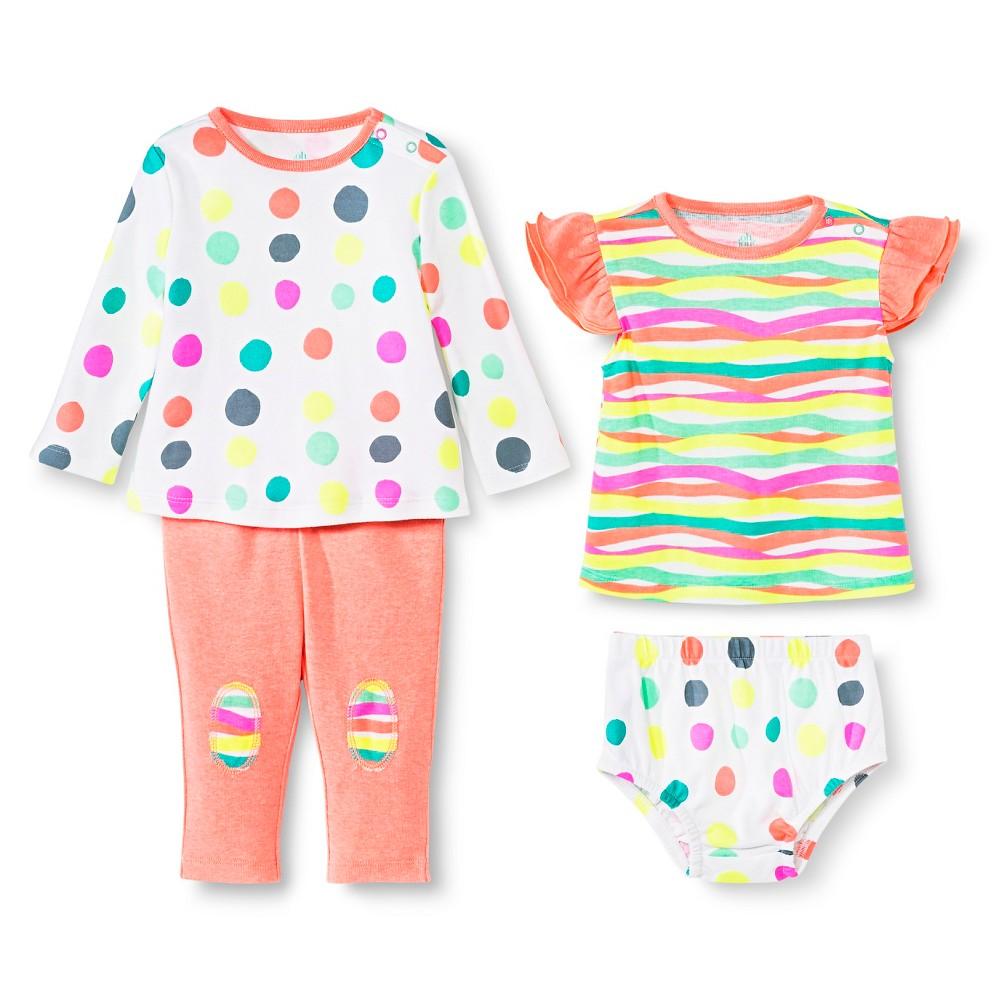 Oh Joy! 4 Piece Set – Dotty/Multi Stripes 3-6M, Infant Girl's, Size: 3-6 M, White