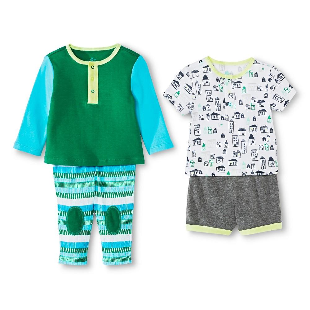 Oh Joy! Newborn Boys' 4 Piece Set – Multi Teal 12M, Newborn Boy's, Size: 12 M, Green