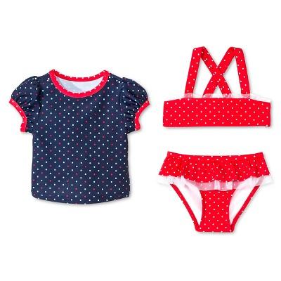 Baby Girls' 3-Piece Polka Dots Swim Rash Guard Set Nightfall Blue 9M - Circo™