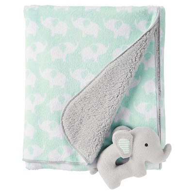 Baby Elephants Rattle Blanket - Just One You™ Made by Carter's® Green