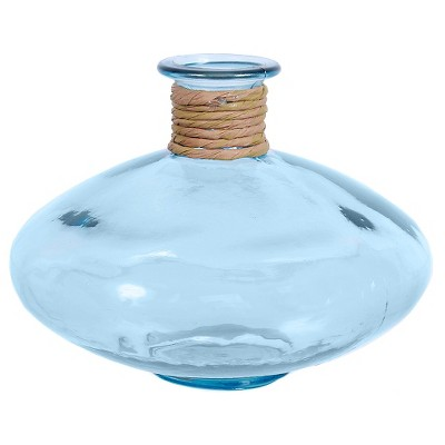 Recycled Glass Blue Round Vase 6.5  H