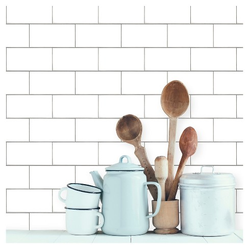 Devine Color Textured Subway Tile Peel & Stick Wallpaper - White - image 1 of 8