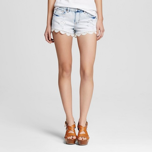 Women's Low Rise Shorts with Lace Light Wash - Dollhouse (Juniors') - image 1 of 2