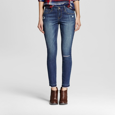 Women's Mid Rise Destructed Skinny Medium Wash - Dollhouse (Juniors') - image 1 of 6