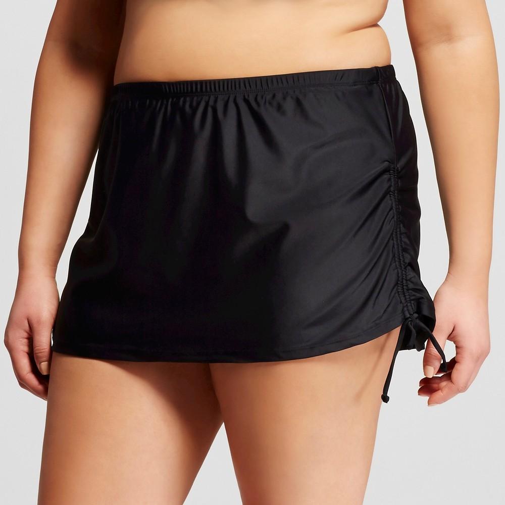 Women's Plus Size Skirted Swim Bottom with Side Tie Black X – Costa del Sol
