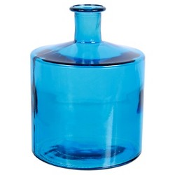 """Recycled Glass Blue Straight Vase 11""""H"""
