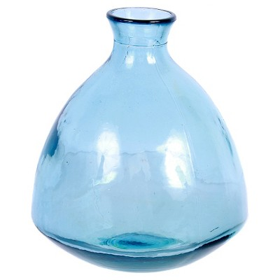 Recycled Glass Blue Small Round Vase 7.5 H