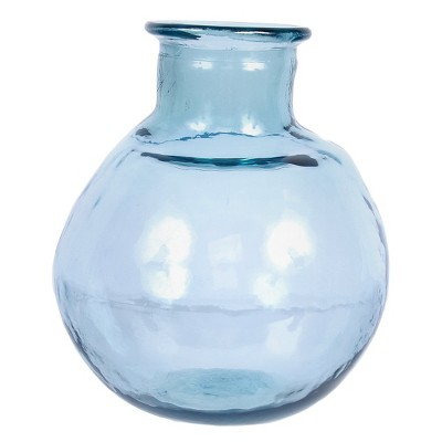 Recycled Glass Blue Large Round Vase 12 H