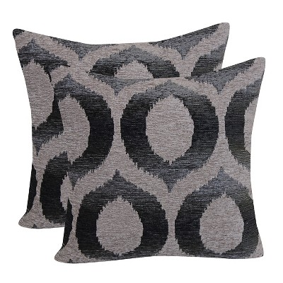 Graphite Ogee Jacquard Throw Pillow with Suede Back (18 x18 )- Brentwood