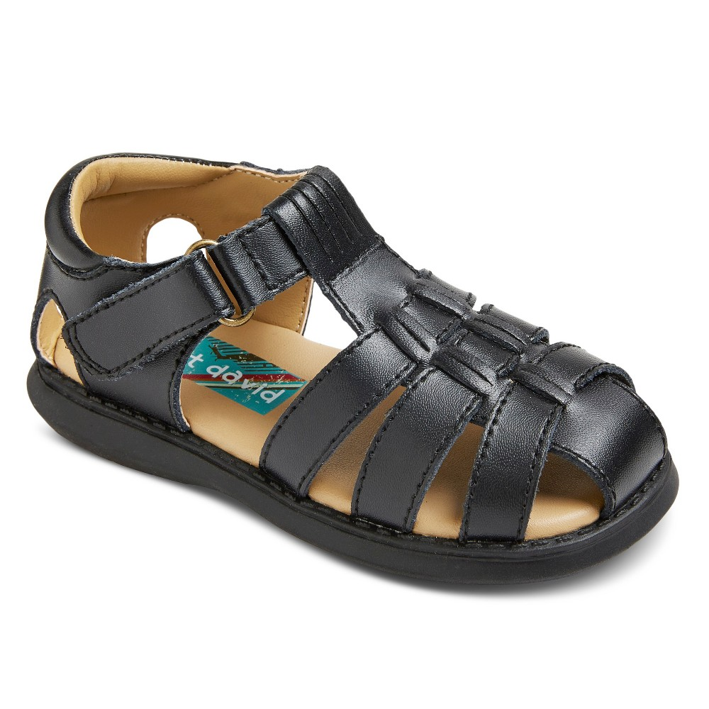 Scott David Toddler Boys Sailor Leather Fisherman Sandals - Black 9