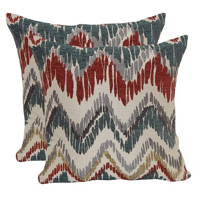 Red Jacquard Chevron Throw Pillow with Suede Back Patriot (18 x18 )- Brentwood