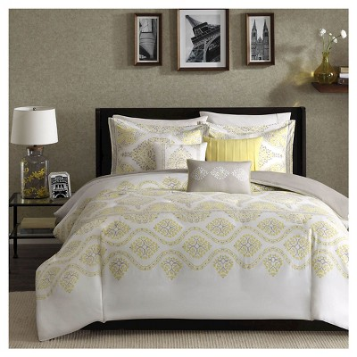 Yellow Colima Medallion Duvet Cover Set (Full/Queen)- 6 Piece